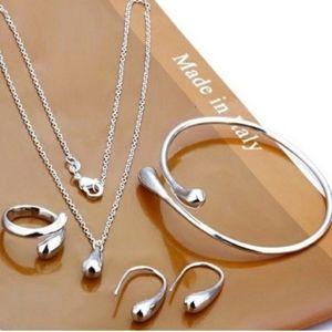 925 Sterling Silver Waterdrop Jewelry Set